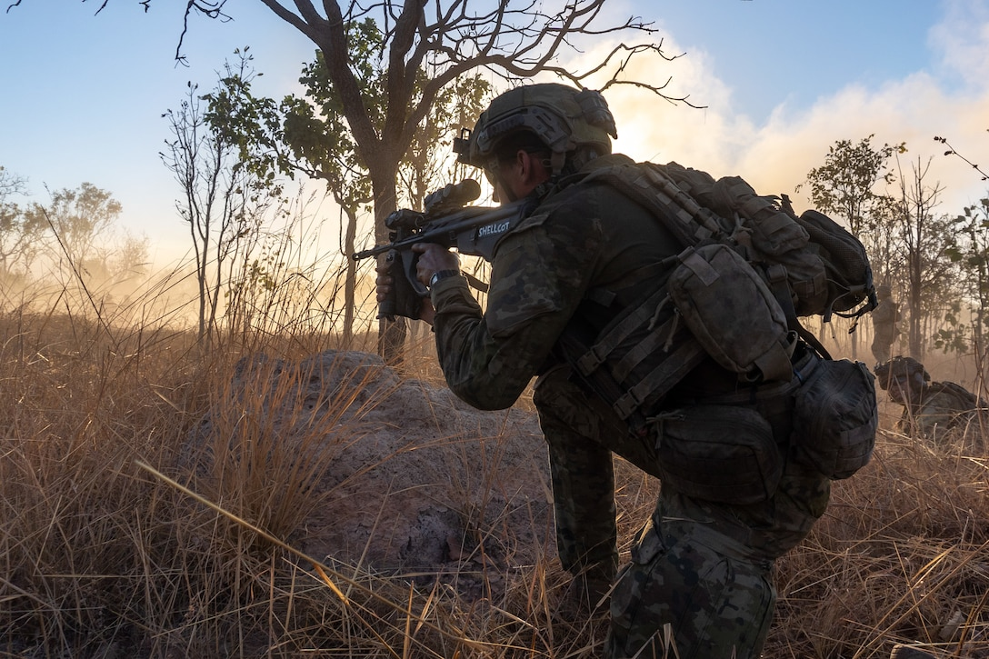 U.S. Marines and Australian Defence Force members participate in a breaching exercise during Exercise Koolendong Northern Territory, Australia, Sept. 9.