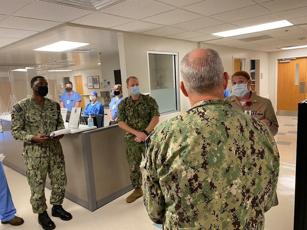 Rear Adm. Bruce Gillingham, surgeon general of the Navy, visitis medical commands.