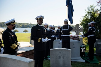 ANNAPOLIS, Md. (Oct. 5, 2020) Chief of Naval Operations Adm. Mike Gilday (CNO), left, attends a funeral ceremony in honor of Adm. Carlisle A. H. Trost. Trost, a native of Illinois, served as the 23rd CNO from June 30, 1986, until June 29, 1990. (U.S. Navy photo by Mass Communication Specialist 1st Class Raymond D. Diaz III/Released)