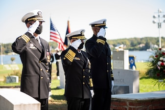 ANNAPOLIS, Md. (Oct. 5, 2020) Chief of Naval Operations Adm. Mike Gilday (CNO), center, renders honors to Adm. Carlisle A. H. Trost during a funeral in his honor. Trost, a native of Illinois, served as the 23rd CNO from June 30, 1986, until June 29, 1990. (U.S. Navy photo by Mass Communication Specialist 1st Class Raymond D. Diaz III/Released)