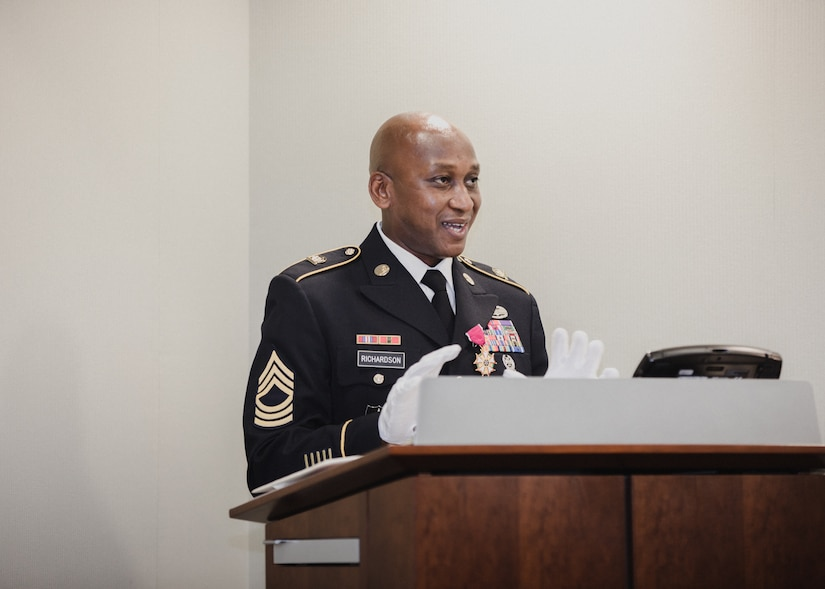 Master Sgt. Willie D. Richardson speaks to the in-person and virtual audience that attended his Aug. 11 military retirement ceremony at Picatinny Arsenal, N.J. Project Manager Soldier Lethality's Senior Non Commissioned Officer since May 2018, he concluded a 26-year active duty service.