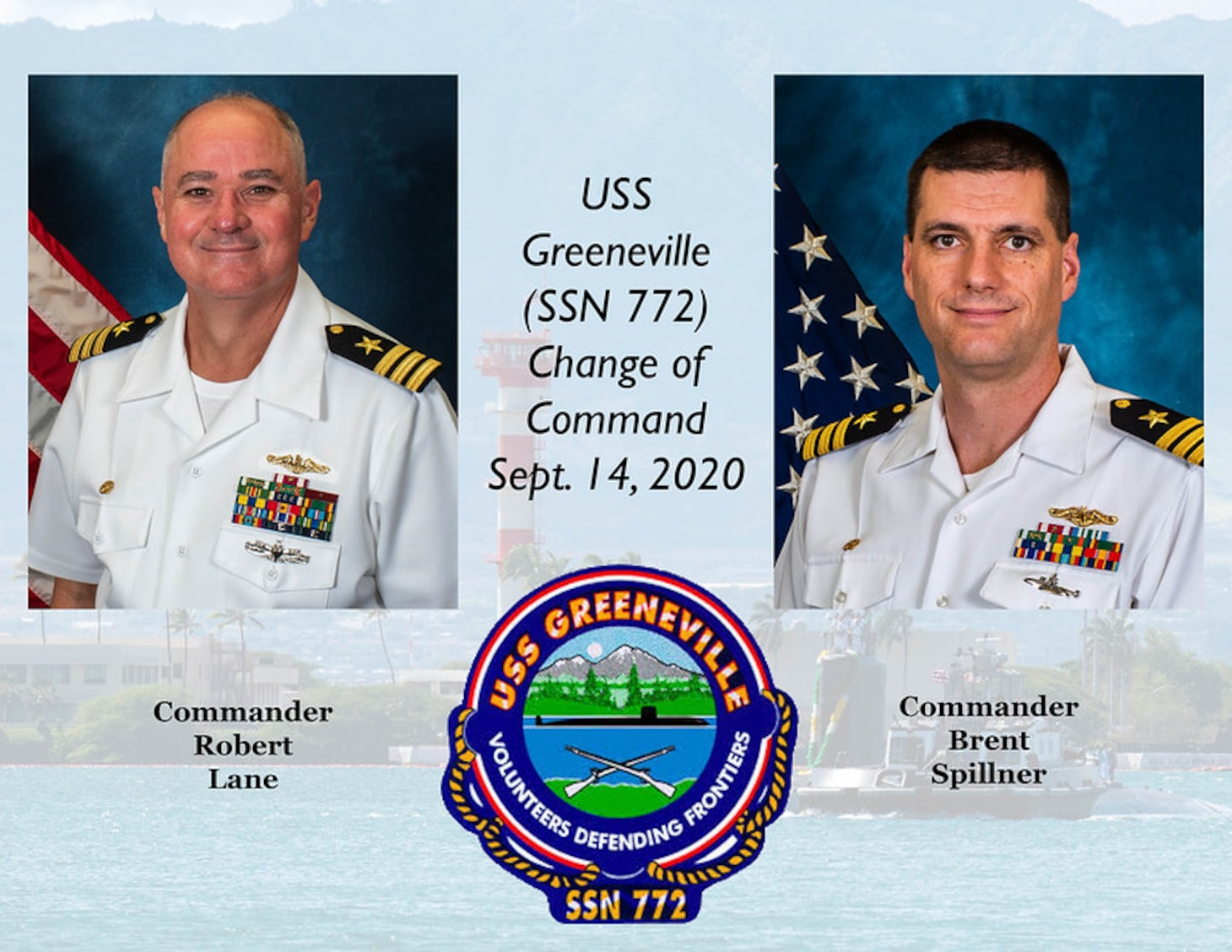Change of Command Graphic for USS Greeneville (SSN 772). (U.S. Navy/MC1 Michael Zingaro)