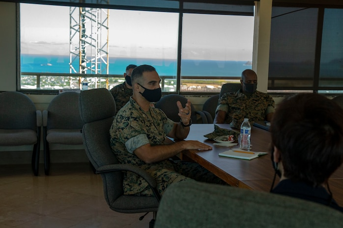 U.S. Marine Corps Col. Speros C. Koumparakis, commanding officer, Marine Corps Base Hawaii, talks to Chief Susan Ballard, Honolulu Chief of Police, about the MCBH community. The meeting was held in order to strengthen relations between MCBH and the Honolulu Police Department. (U.S. Marine Corps photo by Lance Cpl. Shane Linder)