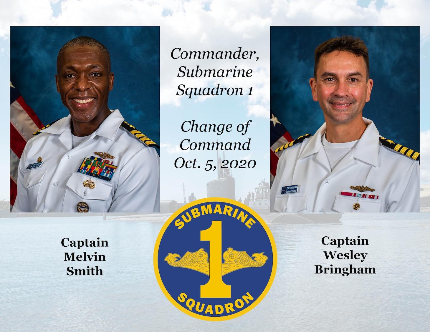 Change of Command Graphic for Commander, Submarine Squadron 1. (U.S. Navy/MC1 Michael Zingaro)
