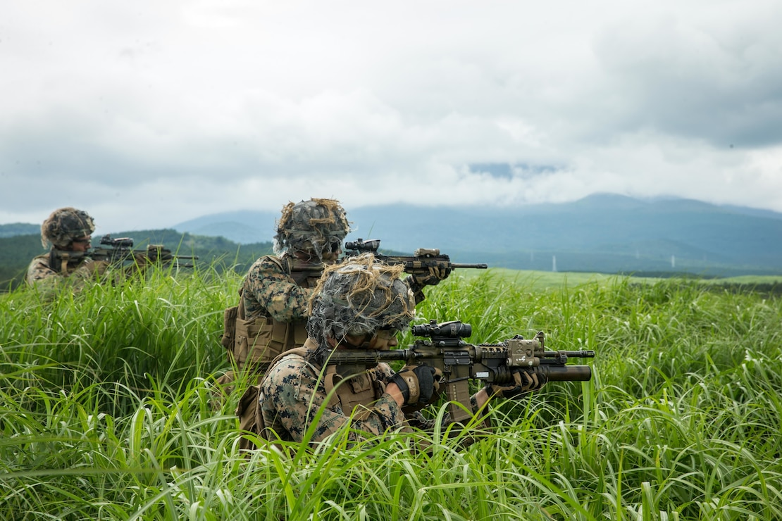 U.S. Marines with 1st Battalion, 6th Marine Regiment, currently assigned to 3rd Marine Division under the Unit Deployment Program, shoot targets during a platoon attack range on Combined Arms Training Center, Camp Fuji, June 23, 2020.