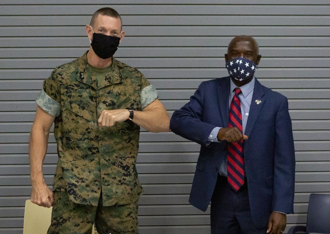 Maj. Gen. Stephen M. Neary, commander of U.S. Marine Corps Forces Europe and Africa, poses for a photo with U.S. Ambassador to Senegal Tulinabo S. Mushingi, after a meeting at the Cooperative Security Location in Dakar, Senegal, Oct. 6.