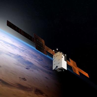 An artist's conception of the WGS 11+ satellite.  (Courtesy of Boeing)