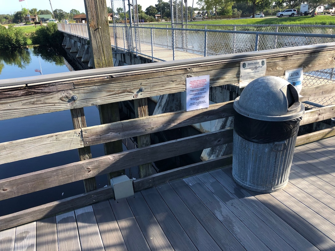 COVID guidance posted at W.P. Franklin North fishing pier