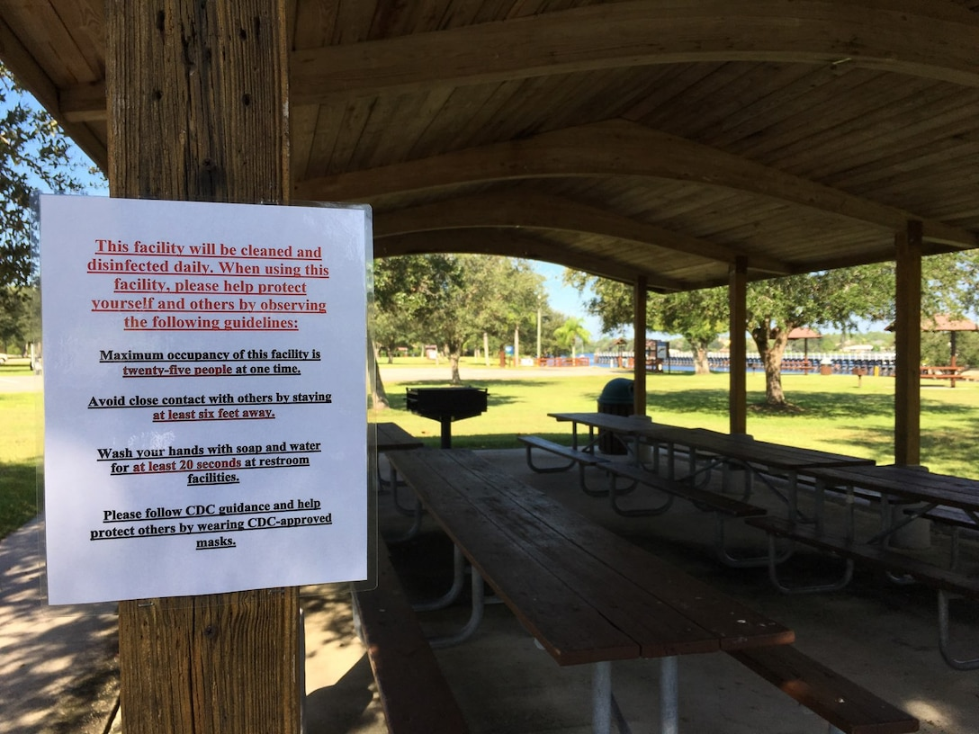 COVID guidance posted at W.P. Franklin South Pavilion One
