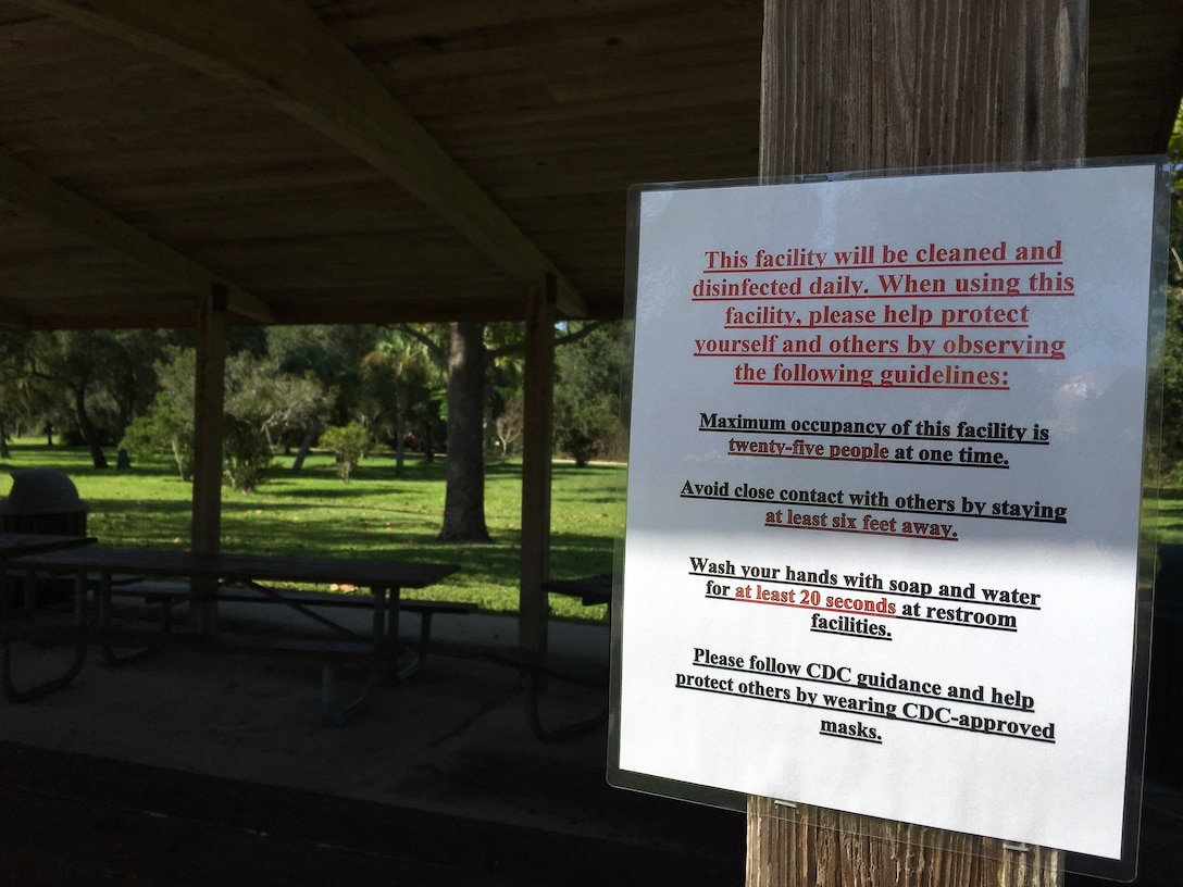 COVID guidance posted at W.P. Franklin South Pavilion Two
