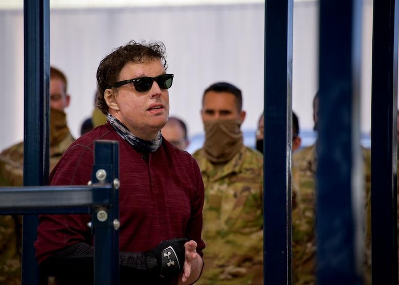 Jared Estes talks to 366th Training Squadron explosive ordinance disposal Airmen