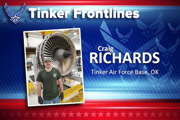 Graphic with photo of man standing by jet engine.