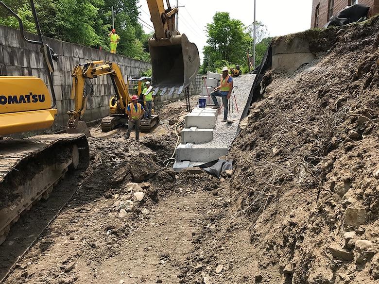 Construction progress at the Lick Run Streambank Protection Project.