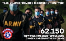 graphic with text congratulating U.S. Army Recruiting Command for 62K soldiers enlisted in the Army.
