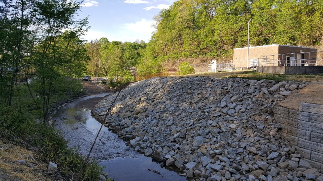 Completed construction at the Lick Run Streambank Protection Project.