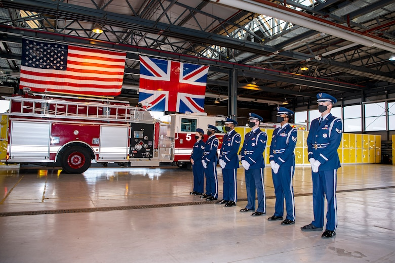 Airmen from the 423rd Air Base Group Honor Guard pose for a photo at RAF Alconbury, England, Sep. 30, 2020. The Honor Guard is responsible for rendering honors at official ceremonies throughout the Wing. (U.S. Air Force photo by Senior Airman Eugene Oliver)