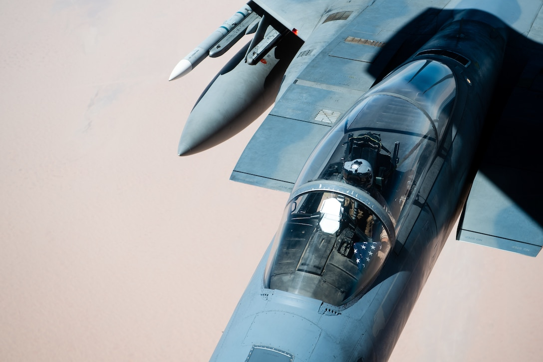 A U.S. Air Force F-15C Eagle flies over the U.S. Central Command area of responsibility Sept. 17, 2020. The F-15C Eagle is an all-weather, extremely maneuverable tactical fighter designed to perform air-to-air missions, demonstrating U.S. Air Forces Central Command's posture to fight and win today. (U.S. Air Force photo by Staff Sgt. Justin Parsons)