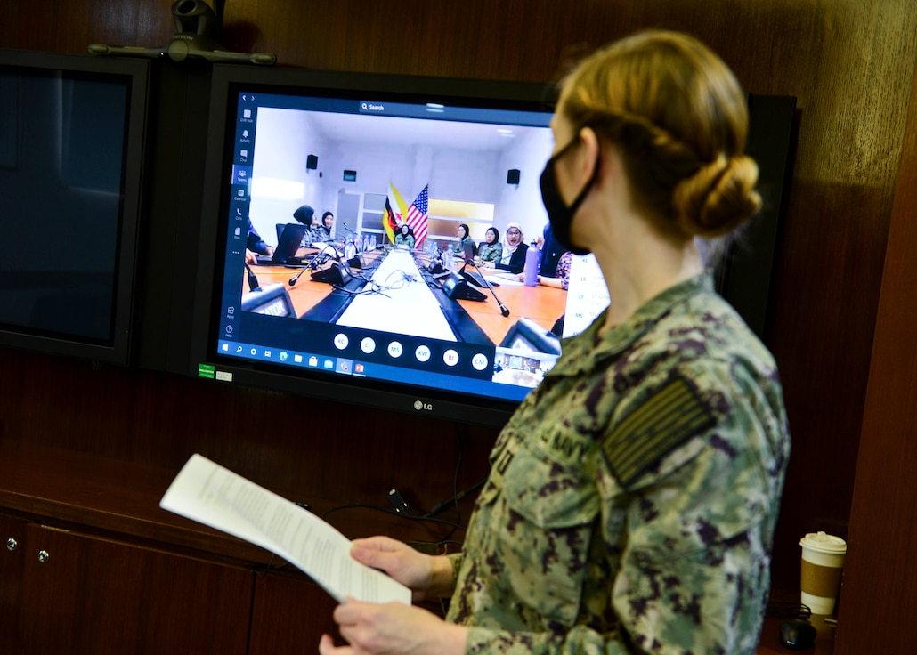Lt. Clare Fitzpatrick, judge advocate general assigned to Singapore Area Coordinator, makes opening remarks during a virtual Women, Peace and Security subject matter expert exchange as part of Cooperation Afloat Readiness and Training (CARAT) Brunei 2020.