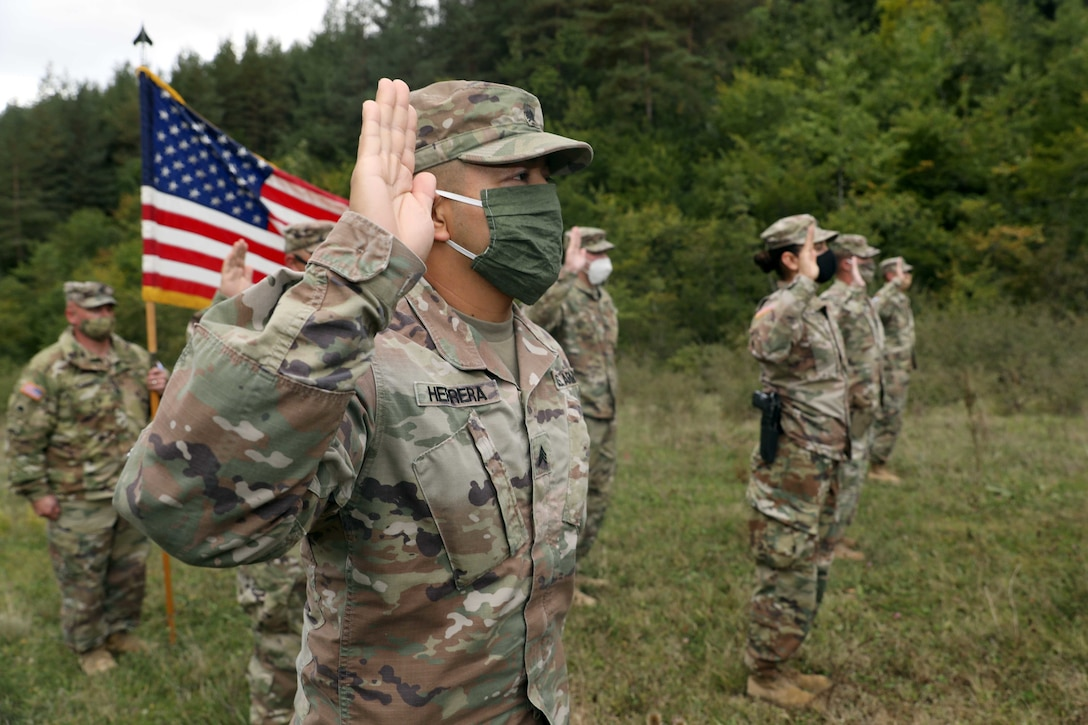 Re-enlistment ceremony in Kosovo