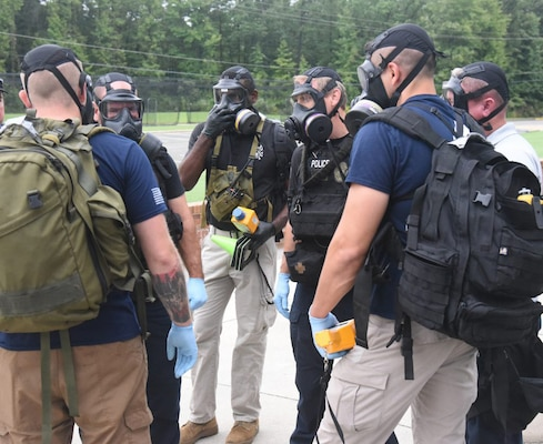 Virginia National Guard Soldiers and Airmen assigned to the Fort Pickett-based 34th Civil Support Team participate in a training exercise with local, state and federal agencies Sept. 18, 2020, in Glen Allen, Virginia.