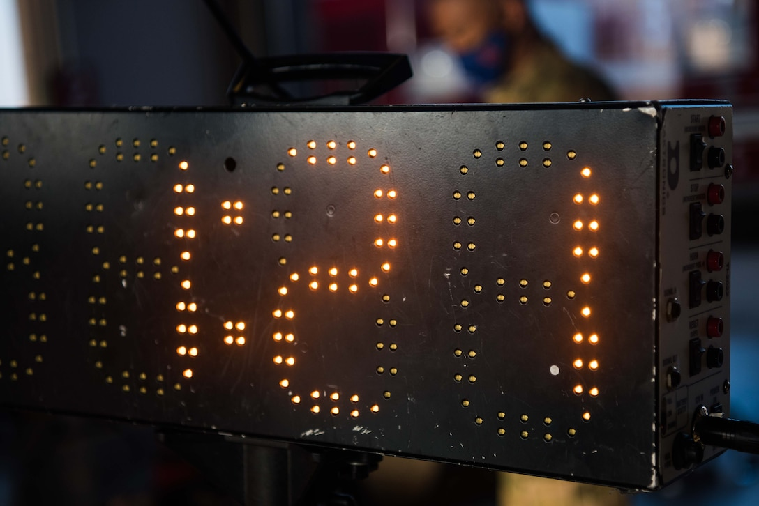 A stop clock tracks the time of teams participating in the 2020 Fire Muster competition Oct. 8, at McConnell Air Force Base, Kansas. A total of seven teams competed for the title of McConnell Fire Muster Champion. (U.S. Air Force photo by Senior Airman Alexi Bosarge)
