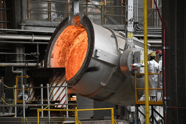 The Naval Foundry and Propeller Center (NFPC) in Philadelphia, a detachment of Norfolk Naval Shipyard, made the first casting for a Columbia-Class submarine Aug. 26.  At more than 200,000 lbs., the casting represented the largest of its kind in American history.