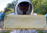 Defense Logistics Agency employee and beekeeper Adam Beam takes a closer look at one of the frames from one of his hives.