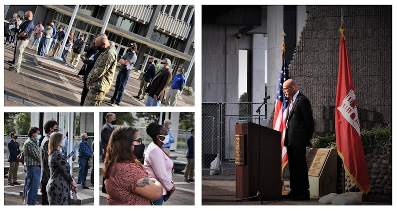"IN THE PHOTOS, Memphis District employees gather for a memorial earlier today at the Clifford-Davis Odell Horton Federal Building to honor and remember seven teammates, who to many of us were family, that we unfortunately lost over the last year. All seven have been and will be dearly missed. The District Commander, Corps Chaplain, Physical Support Branch Chief Lawrence ""LT"" Thomas, and Operations Division Chief Russell Davis III spoke words of solace and encouragement during this time where we are all experiencing a rollercoaster ride of emotions. (USACE photos by Vance Harris)"