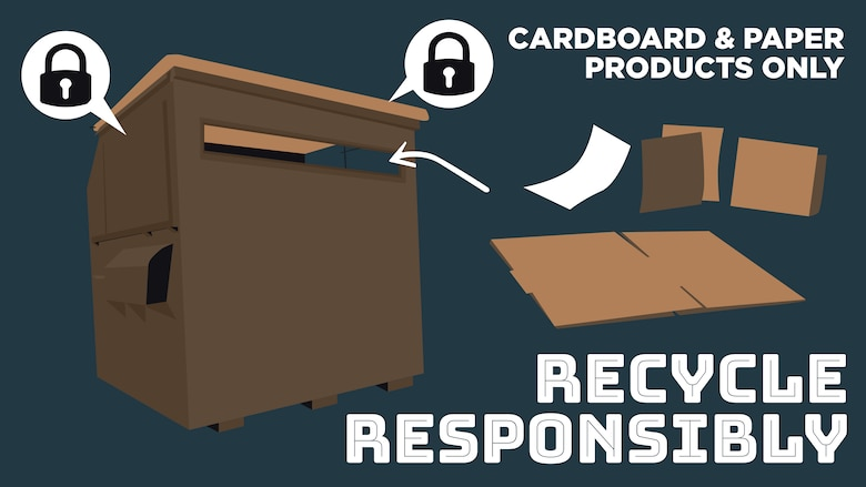 This graphic was created to inform the Barksdale community of changes to policy for the recycling center. As of Oct. 9, 2020, the Base Recycling Center will update their policy on what is accepted in the on base receptacles. (U.S. Air Force graphic by Senior Airman Lillian Miller)