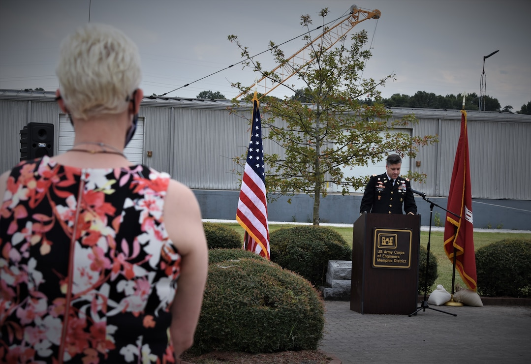 """IN THE PHOTOS, Memphis District employees gather for a memorial earlier today at the Clifford-Davis Odell Horton Federal Building to honor and remember seven teammates, who to many of us were family, that we unfortunately lost over the last year. All seven have been and will be dearly missed. The District Commander, Corps Chaplain, Physical Support Branch Chief Lawrence """"LT"""" Thomas, and Operations Division Chief Russell Davis III spoke words of solace and encouragement during this time where we are all experiencing a rollercoaster ride of emotions. (USACE photos by Jessica Haas)"""