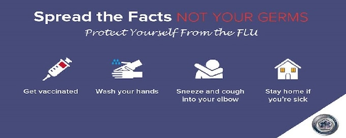 Protect yourself from the flu-- Get vaccinated, wash your hands, sneeze and cough into your elbow, and stay home if you're sick.