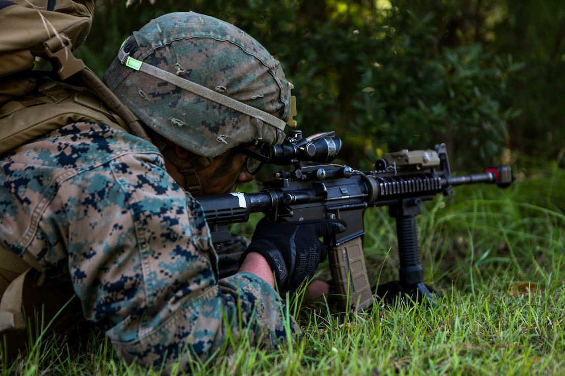 U.S. Marine Corps Pfc. Steven Sullivan, a mortarman with 1st Battalion 8th Marines, provides security during a raid training exercise at Camp Lejeune, N.C., Sept. 22, 2020. The purpose of the exercise was to promote familiarization with ship to shore procedures and raid tactics for pre-deployment readiness with the 24th Marine Expeditionary Unit. (U.S. Marine Corps photo by Lance Cpl. Davis Harris)