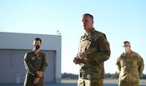 U.S. Air Force Col. Matthew Powell, the 354th Maintenance Group commander, speaks at a Dedicated Crew Chief (DCC) ceremony on Eielson Air Force Base, Alaska, Oct. 9, 2020. The ceremony recognized 29 maintenance Airmen for their commitment to their work and awarded the title of DCC. (U.S. Air Force photo by Senior Airman Beaux Hebert)