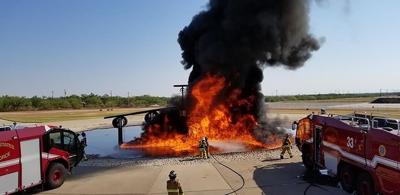 Firefighters from the 445th Civil Engineer Squadron train using Ultra High Pressure (UHP) Aircraft Rescue Firefighting (ARFF) vehicles at Dyess Air Force Base, Texas.
