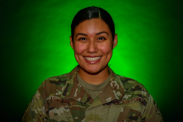 U.S. Air Force Senior Airman Daisy Aguilar, a financial technician with the 1st Special Operations Comptroller Squadron, poses for a portrait at Hurlburt Field, Florida, Sept. 24, 2020. Aguilar manages the 1st Special Operations Wing's debt program, ensuring all Air Commandos are getting paid the correct amount. (U.S. Air Force photo by Airman 1st Class Blake Wiles)