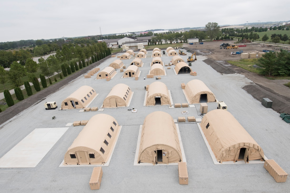 Airmen from the 434th Civil Engineer Squadron recently set up a bare base with 24 tents, in roughly 10 hours. The new site consists of multiple concrete pads, much like the ones found in a deployed environment, allowing engineers to participate in a realistic deployed scenario. (U.S. Air Force photo/Master Sgt. Ben Mota)