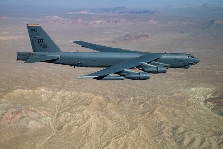 A B-52 Stratofortress flies over the Mojave Desert during the during the 2020 Aerospace Valley Air Show at Edwards Air Force Base, California, Oct. 10. (Air Force photo by Christian Turner)