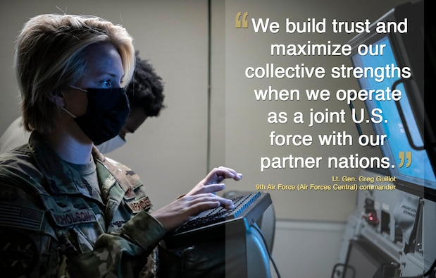 Graphic mentioning partner participation in Air and Missile Defense Exercise 21-1, which started Oct. 12, is a U.S. Air Forces Central-led exercise that develops and exercises tactics, techniques, and procedures against simulated air, cyber, force protection and missile threats.