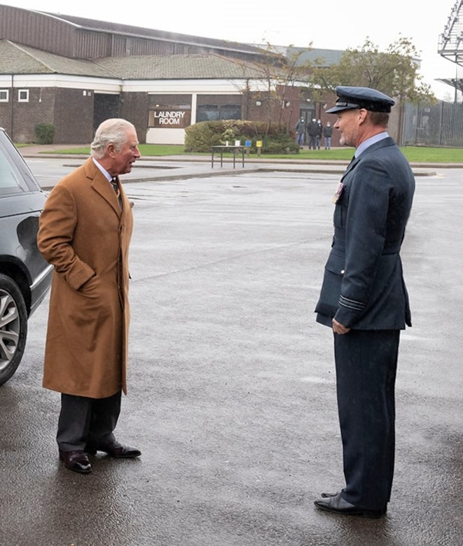His Royal Highness, left, the Prince of Wales, visits RAF Menwith Hill, England, Oct. 12, 2020. (Courtesy Photo)
