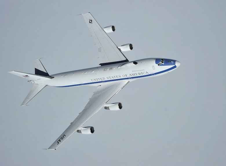 An Air Force E-4B flies over the Canadian Pacific Coast April 10, 2014. (U.S. Air Force photo by Senior Airman Mary O'Dell)