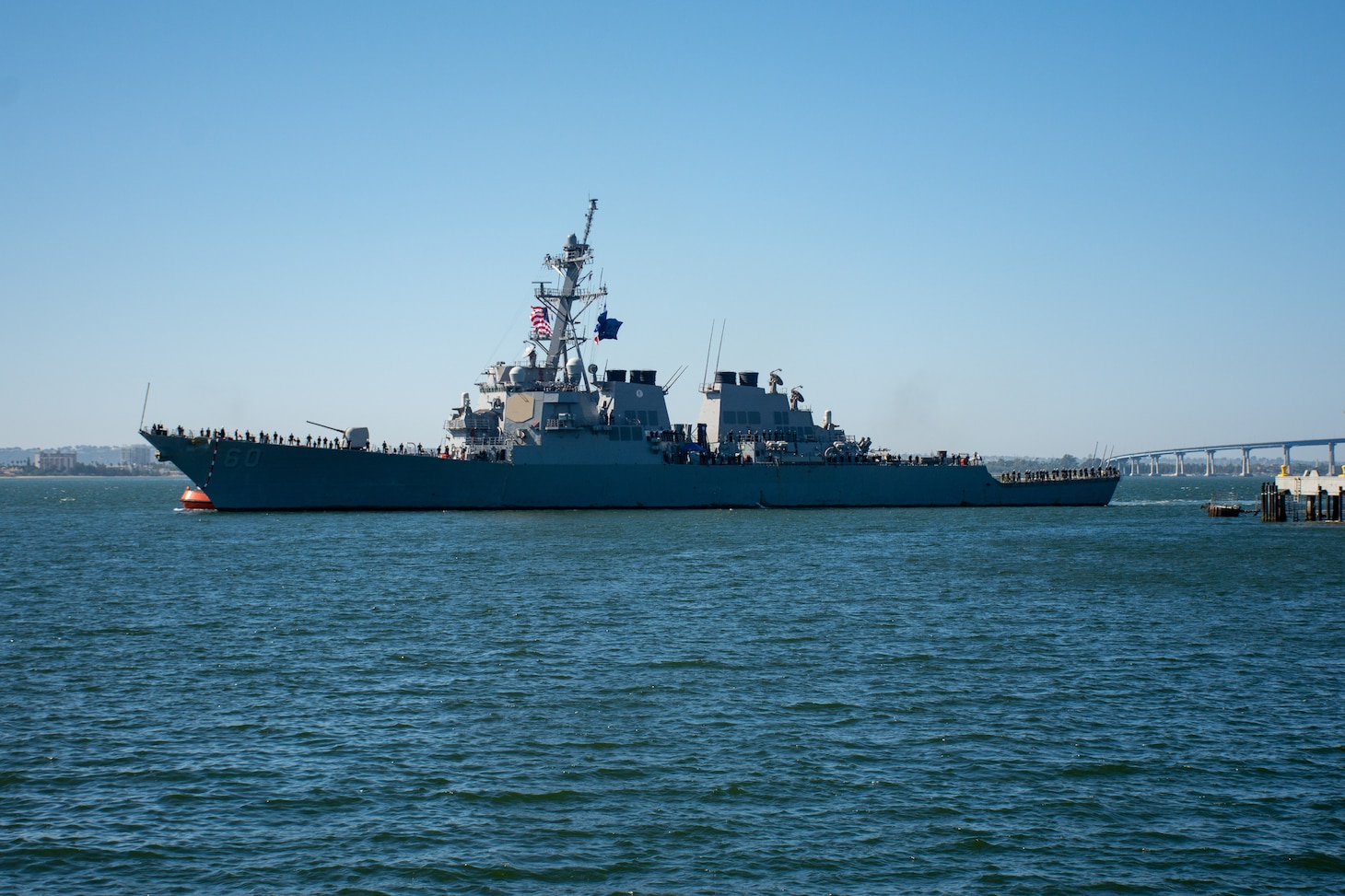 Guided-missile destroyer USS Paul Hamilton (DDG 60) returns to its homeport of San Diego
