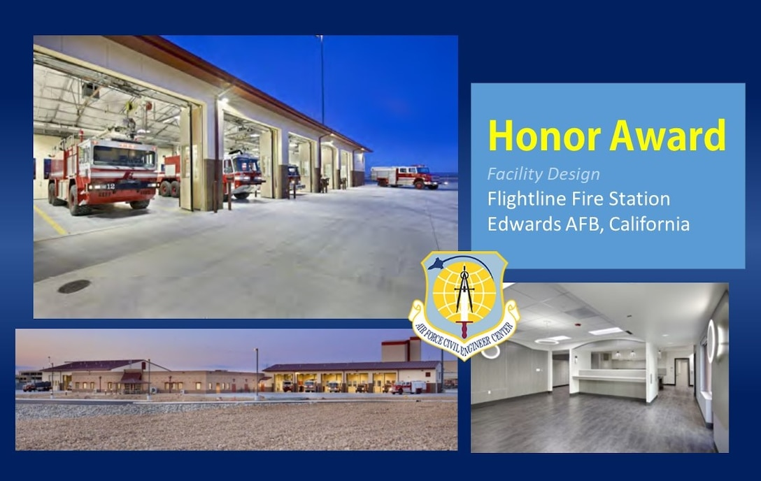 2020 Design Honor Award in the facility design category is the Flightline Fire Station at Edwards AFB, California. (U.S. Air Force graphic)