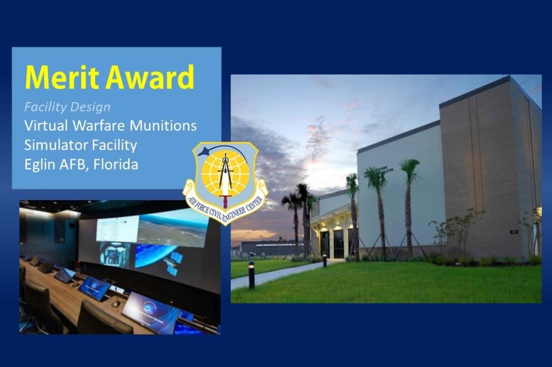2020 Design Merit Award winner in the Facility Design category is the Virtual Warfare Munitions Simulator Facility at Eglin AFB, Florida. (U.S. Air Force graphic)
