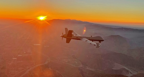 An MQ-9 Reaper remotely piloted aircraft flown by 163d Attack Wing pilot Lt. Col. Paul Brockmeier, with sensor operator Master Sgt. Anthony Martinez, views the smoky San Gabriel Mountains of southern California in transit to a fire mission in northern California, late August 2020.