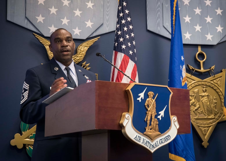 U.S. Air Force Chief Master Sgt. Maurice L. Williams, the 13th Air National Guard (ANG) command chief, speaks during an assumption of responsibility ceremony hosted by Lt. Gen. Michael A. Loh, ANG director, at the Pentagon in Arlington, Va., Oct. 9, 2020. As ANG command chief, Williams represents the highest level of ANG enlisted leadership and serves as Loh's principal adviser for all matters influencing the health, morale and welfare of enlisted personnel. (U.S. Air National Guard photo by Tech. Sgt. Morgan R. Lipinski)