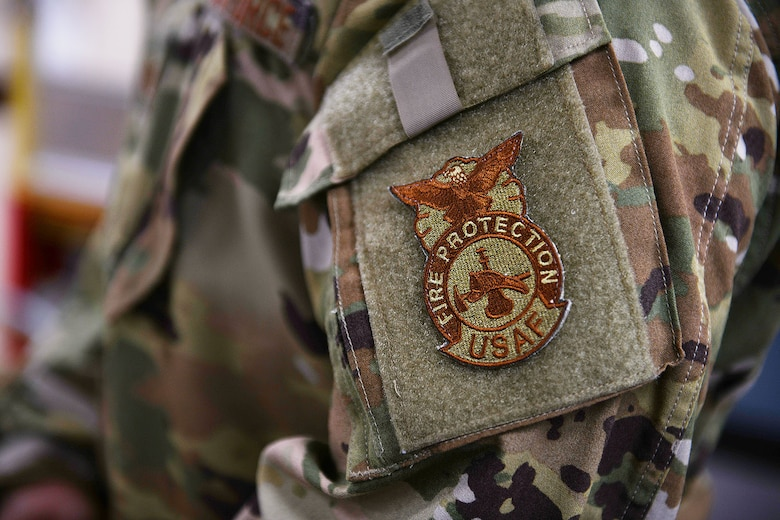 A fire protection patch is displayed Oct. 13, 2020, at Malmstrom Air Force Base, Mont.