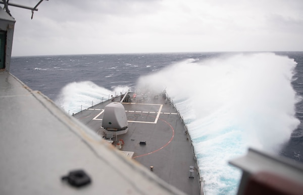 The Arleigh-Burke class guided missile destroyer USS Barry (DDG 52) conducts routine operations in the Indo-Pacific region.