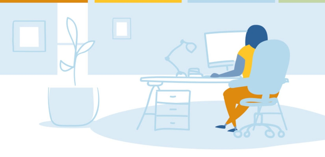 Clip art of person sitting at a desk