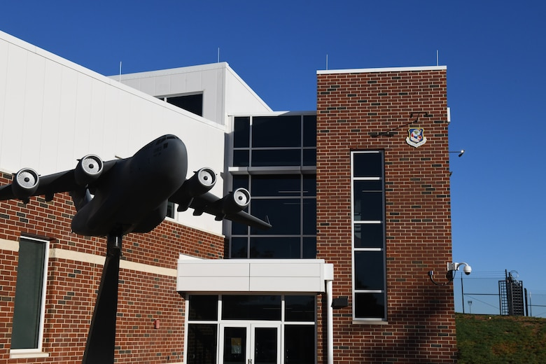The front entrance of the 145th Operations Group building, constructed as part of the C-17 conversion for the 145th Airlift Wing, it was the first building to be completed during the conversion process, at the  North Carolina Air National Guard Base, Charlotte Douglas International Airport, October 14, 2020. The 145th Airlift Wing began converting from C-130 Hercules to the C-17 in October of 2017 and officially exited conversion in October 2020.