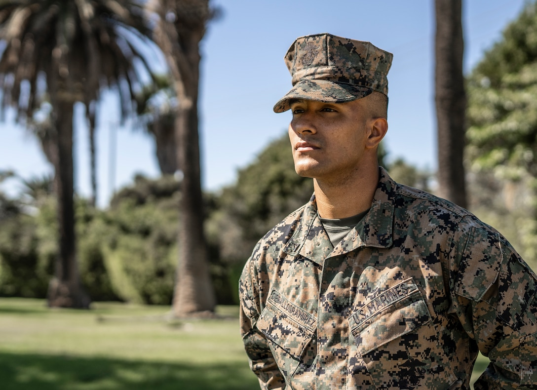 U.S. Marine Corps Lance Cpl. Adrian M. Ceballosramirez, an administrative specialist with 12th Marine Corps District, poses for National Hispanic Heritage Month at Marine Corps Recruit Depot San Diego on Oct. 13, 2020. Ceballosramirez was born and raised in Cali, Columbia before immigrating to the United States in 2017 and joining the Marine Corps in 2019. (U.S. Marine Corps photo by Cpl. Tessa D. Watts)
